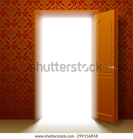 Open door to the glowing room in a retro ornamental wall - stock photo