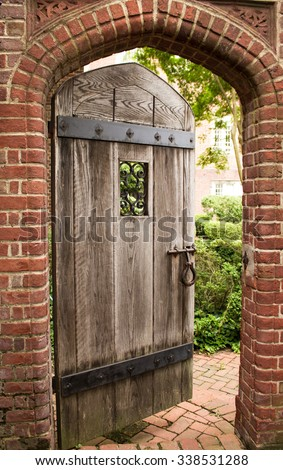 open door to the secret garden - stock photo