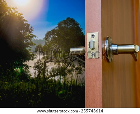 open door view night landscape with the big moon - stock photo