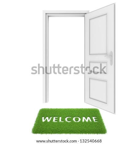 open door with a rug of grass - stock photo
