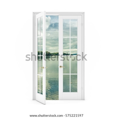 open door with a view of the lake on white background 3D illustration