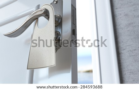 open door with blank broshure flyer success and solution concept background - stock photo