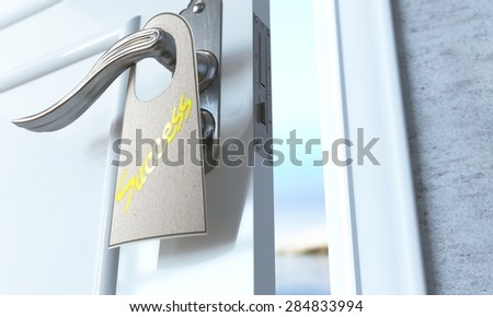 open door with broshure flyer success as solution concept background - stock photo