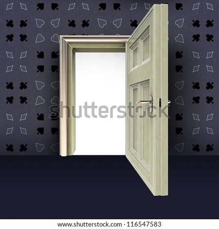 open door with poker green pattern with red carpet concept illustration