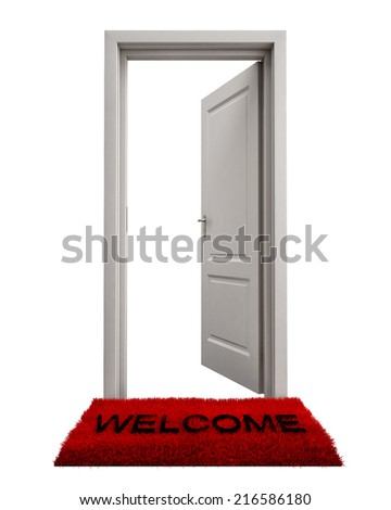 Open Door with Welcome Mat Isolated on White Background - stock photoOpen Door Welcome Mat