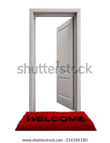 Open Door with Welcome Mat Isolated on White Background - stock photoOpen Door Welcome Mat