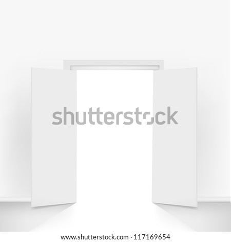 Open Doors, Isolated On Grey Background - stock photo