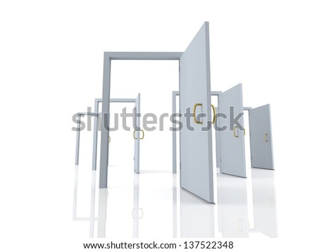 Open doors - possibilities - stock photo