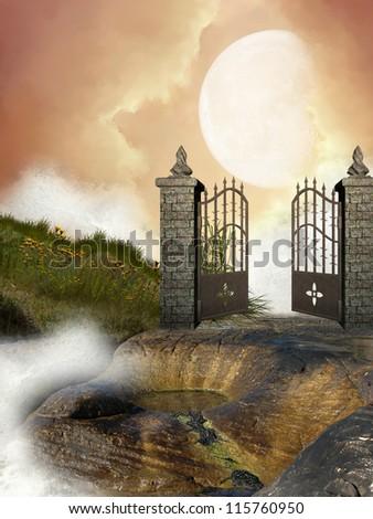 Open doors with columns in the rocks - stock photo