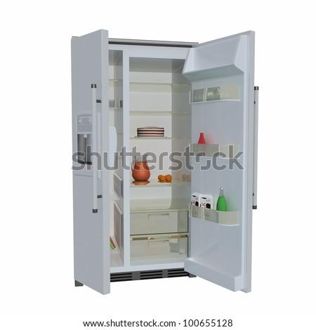 open double fridge on white background - stock photo