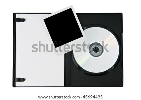 Open DVD case and instant photo print isolated on a white