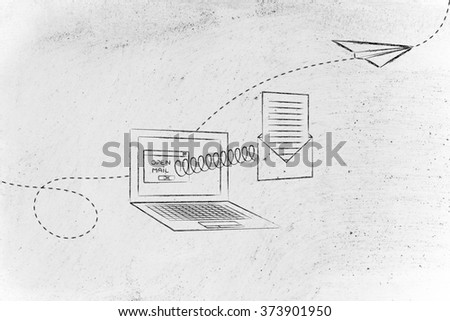 open email envelope coming out of laptop screen with a spring and paper airplane flying away - stock photo