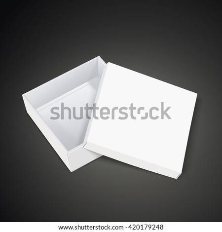 open empty blank box isolated in black background. 3D illustration.