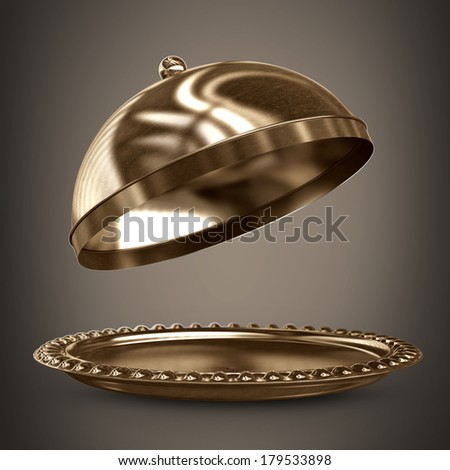 open empty bronze platter or cloche with space to place object. High resolution 3D image  - stock photo
