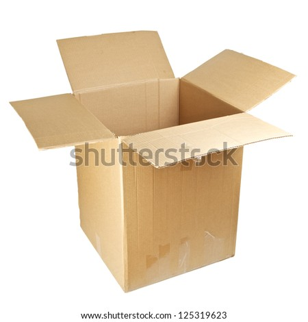 open empty cardboard box isolated on white