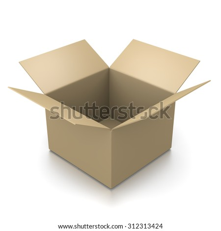 Open Empty Cardboard Box Isolated on White Background 3D Illustration - stock photo