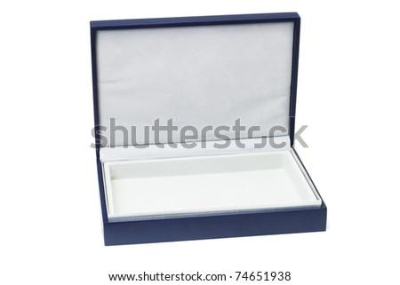 Open empty flat blue gift box on white background - stock photo