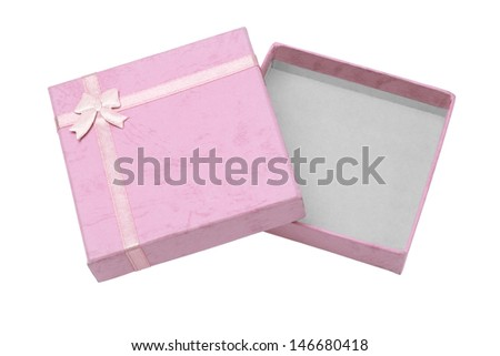 Top View Open Gift Box Open Empty Gift Box on White
