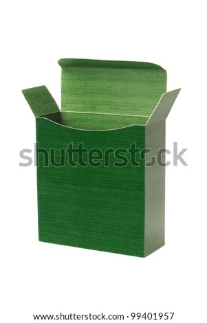 Open Empty Green Paper Box on White Background