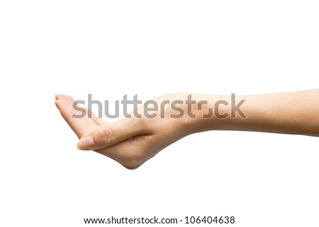 open empty hand with palm up, isolated on white background - stock photo