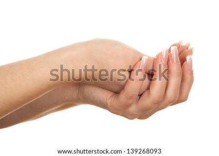 Open empty hands on white background