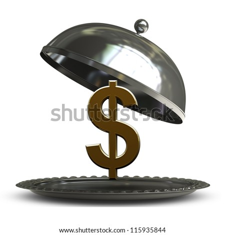 open empty metal silver platter or cloche with US dollar symbol isolated on white background 3d render - stock photo