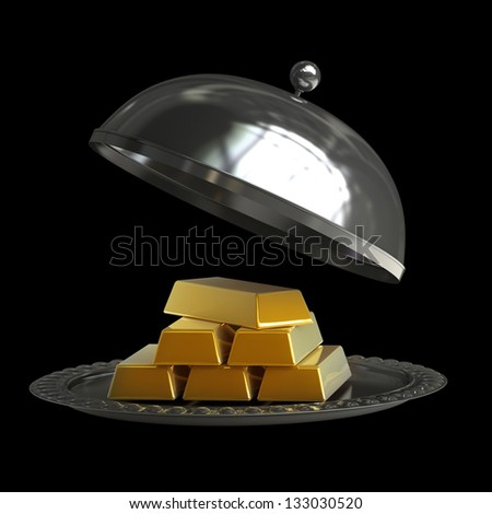 open empty metal silver platter with gold bars isolated on black background High resolution 3d illustration - stock photo