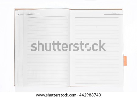 Open empty notebook on white background. - stock photo
