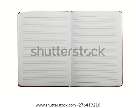 Open empty notebook with lined pages isolated on white background - stock photo