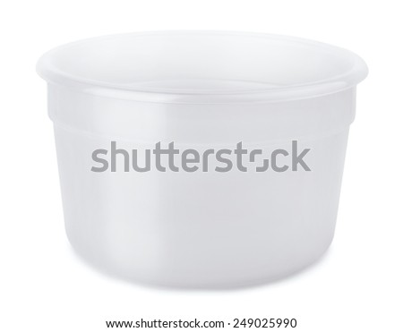Open empty plastic container isolated on white - stock photo