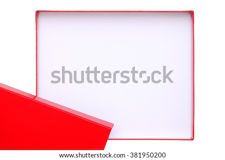 Open empty red and white box isolated on white background - stock photo