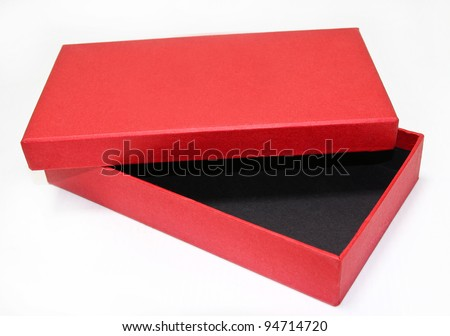 open empty red box , isolated on white - stock photo