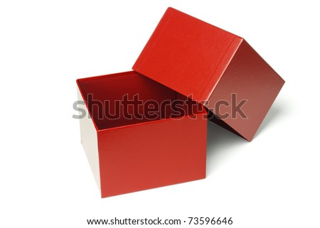 Open empty red gift box isolated on white background