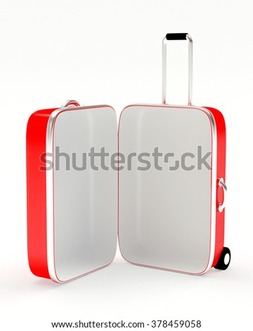 Open empty red suitcase isolated on white background - stock photo