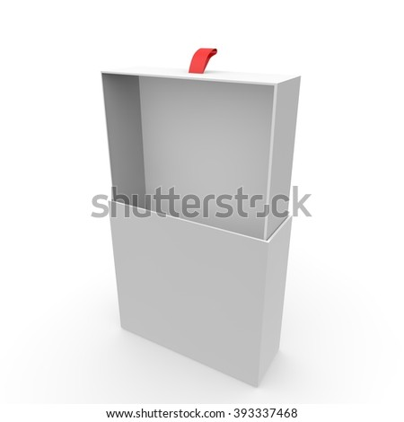 Open empty white box with rope for gifts on an isolated background