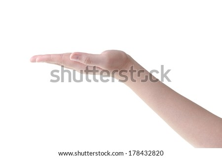 Open empty woman hand isolated on white