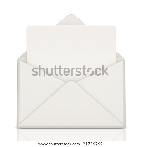 Open Envelope and blank letter on white background - stock photo