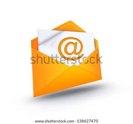 open envelope with e-mail symbol - stock photo