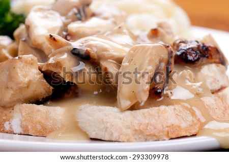open faced hot chicken sandwich with mashed potatoes - stock photo