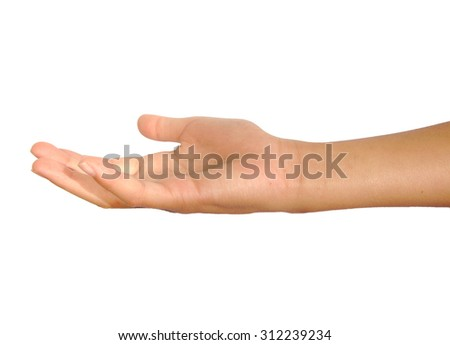 Open female palm or hand begging isolated on white background
