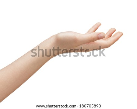 open female teen hand to hold something, isolated on white - stock photo