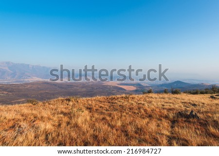 Open fields and mountain range in South Africa