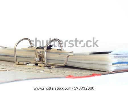 open file folder on white background - stock photo