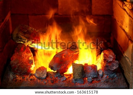 Open Fire Place and burning  firewood