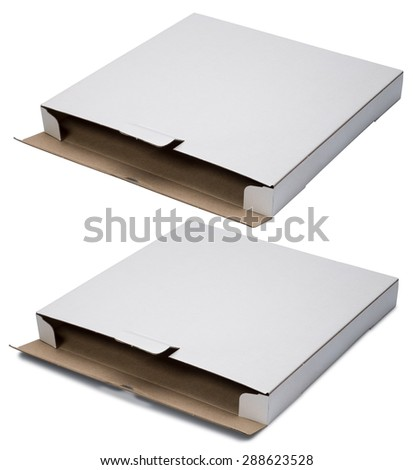 Open flat white cardboard box  isolated on white background. With shadow and without. - stock photo