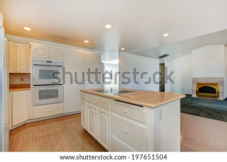 Open floor plan. White kitchen room with island. View of empty living room with fireplace in gold.