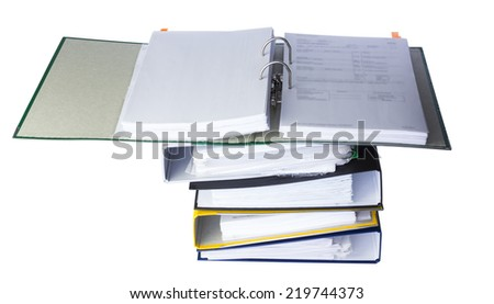 Open folder on the accounting documents isolated on white background