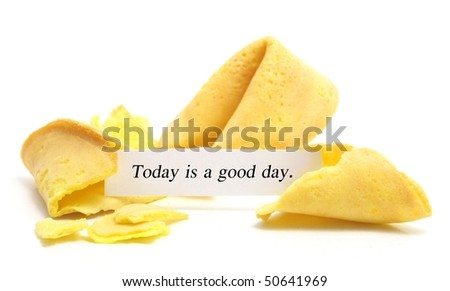 open fortune cookie isolated on a white background