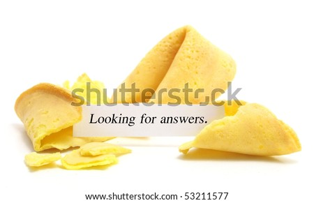 open fortune cookie isolated on a white background - stock photo