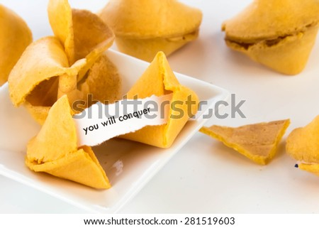 open fortune cookie with strip of white paper - YOU WILL CONQUER